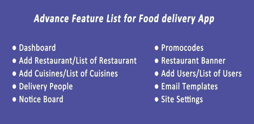 Food Delivery App like UberEats feature list